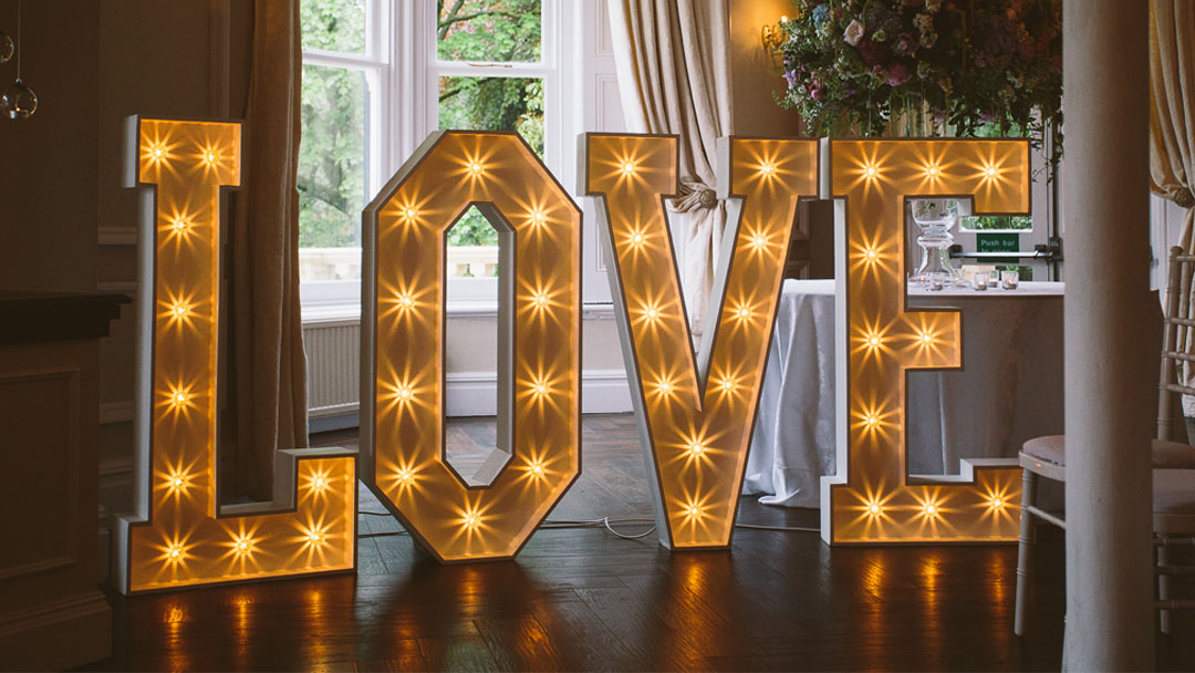 SPARKLE LIGHT UP LOVE LETTERS BY THE WORD IS LOVE