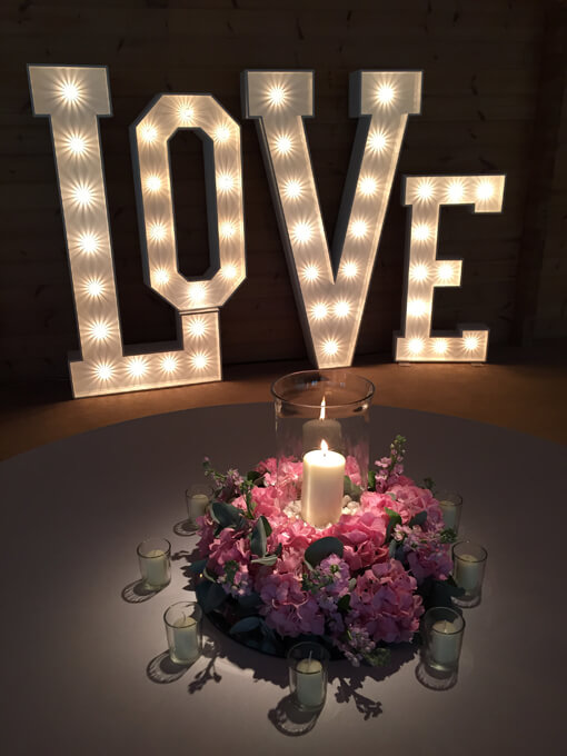 Mix and Match light up love letters with rustic heart and table