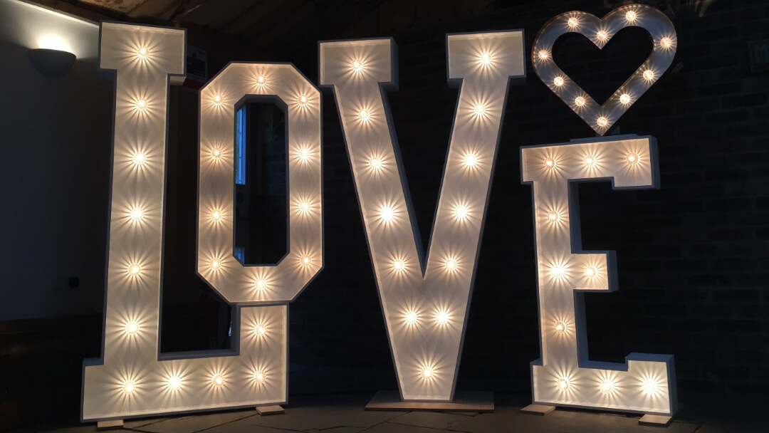 Mix and Match light up love letters with rustic heart
