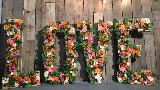 GREEN and Orange floral LOVE letters