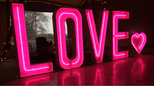 NEON LIGHT UP LOVE LETTERS WITH LITTLE NEON HEART on top