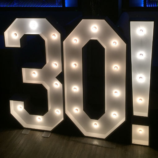 light up exclamation mark for 30th birthday by the word is love