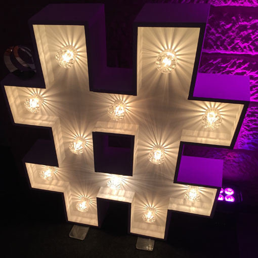 light up letter hash tag social media