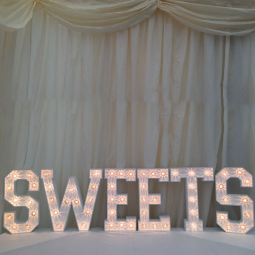 light up letter sweet sign for the tabletop candy cart