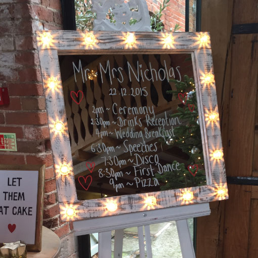 light up mirror table plan with easel