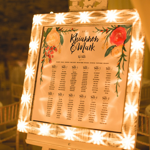 mirror table plan with lights and easel