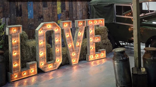 outdoor rustic light up love letters