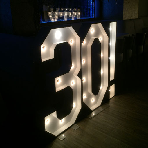 30th birthday light up numbers by the word is love