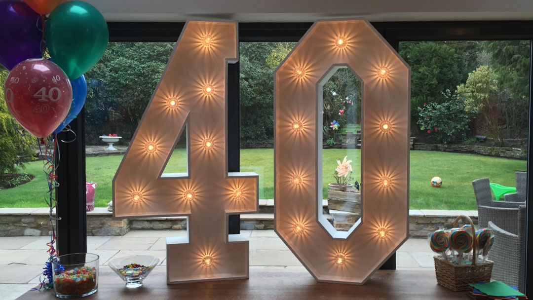 480854ecec7 40th birthday light up numbers