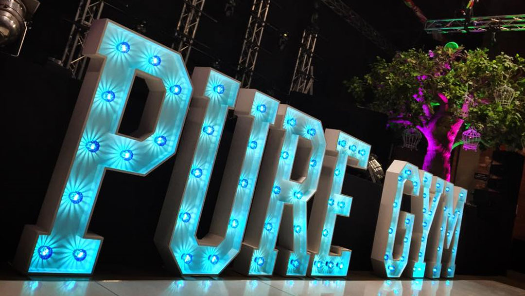 CORPORATE PURE GYM LIGHT UP LETTERS EVENT LIGHTING