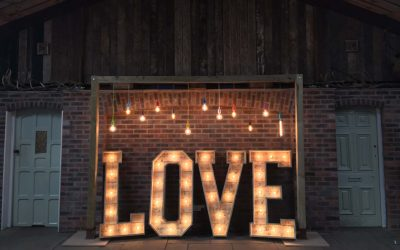Rustic LOVE with Muti-coloured Backdrop