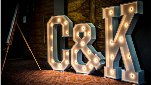 c and k light-up intials wedding prop hire