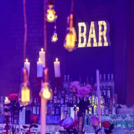 square corporate event bar sign by the word is love