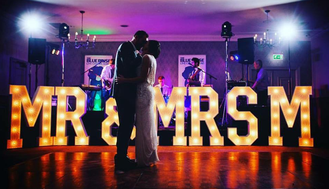 MR & MRS M light up letters the word is love prop hire