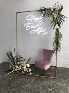 White Happily Ever After Wedding Neon Sign to hire