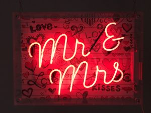 Red Neon MR & MRS Sign to hire