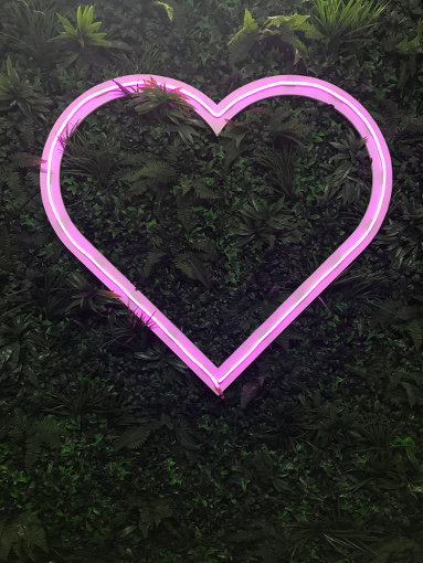 Pink Neon Heart to hire the word is love