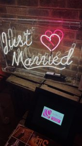 Just Married Neon Sign to hire
