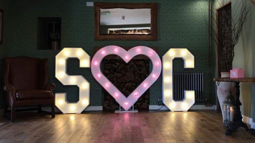S and C light-up letter initials wedding prop hire