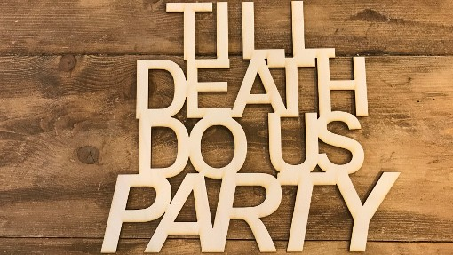 Till death do us party laser cut backdrop