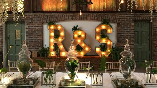 R and S wooden light-up initials wedding prop hire