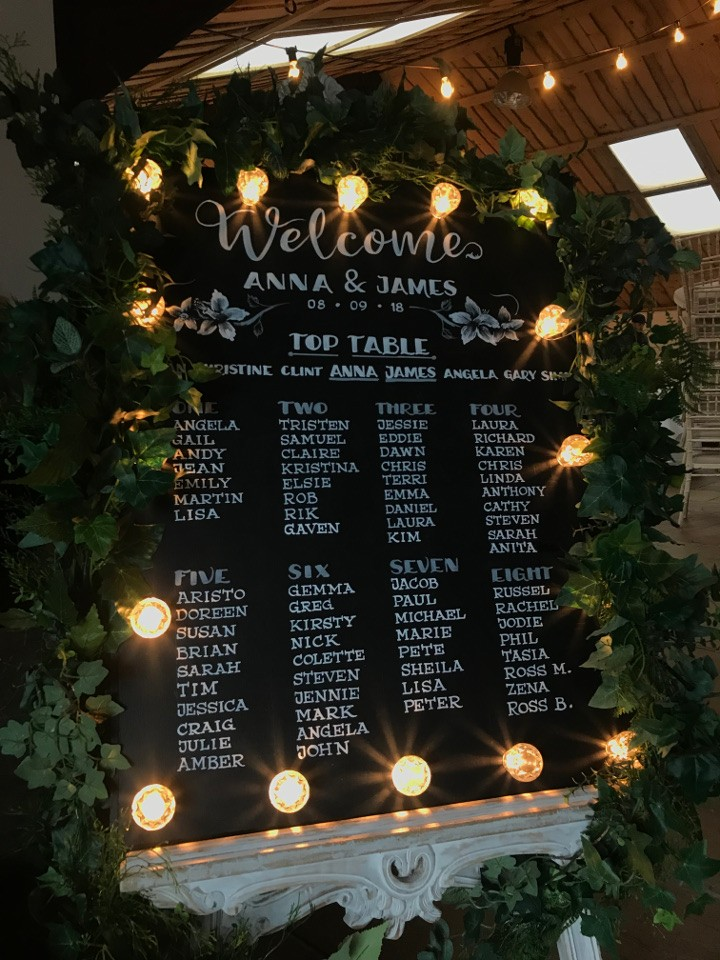 Light up Blackboard Wedding Table Plan and Easel with Green Foliage