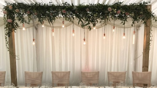 Wedding Backdrop with COPPER EDISON BULBS ON RUSTIC FRAME