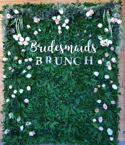 Faux Foliage wedding Backdrop with laser cut custom signage