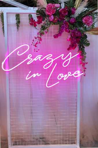 Pink Crazy In Love Neon Sign On White Mesh Backdrop