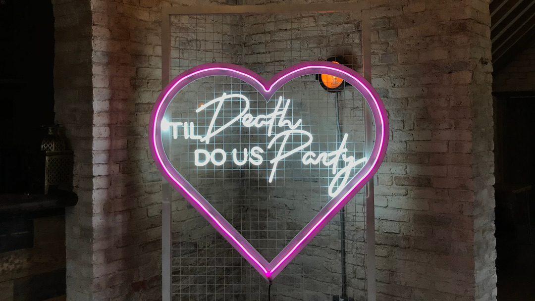 Pink Neon Heart for hire The Word Is Love