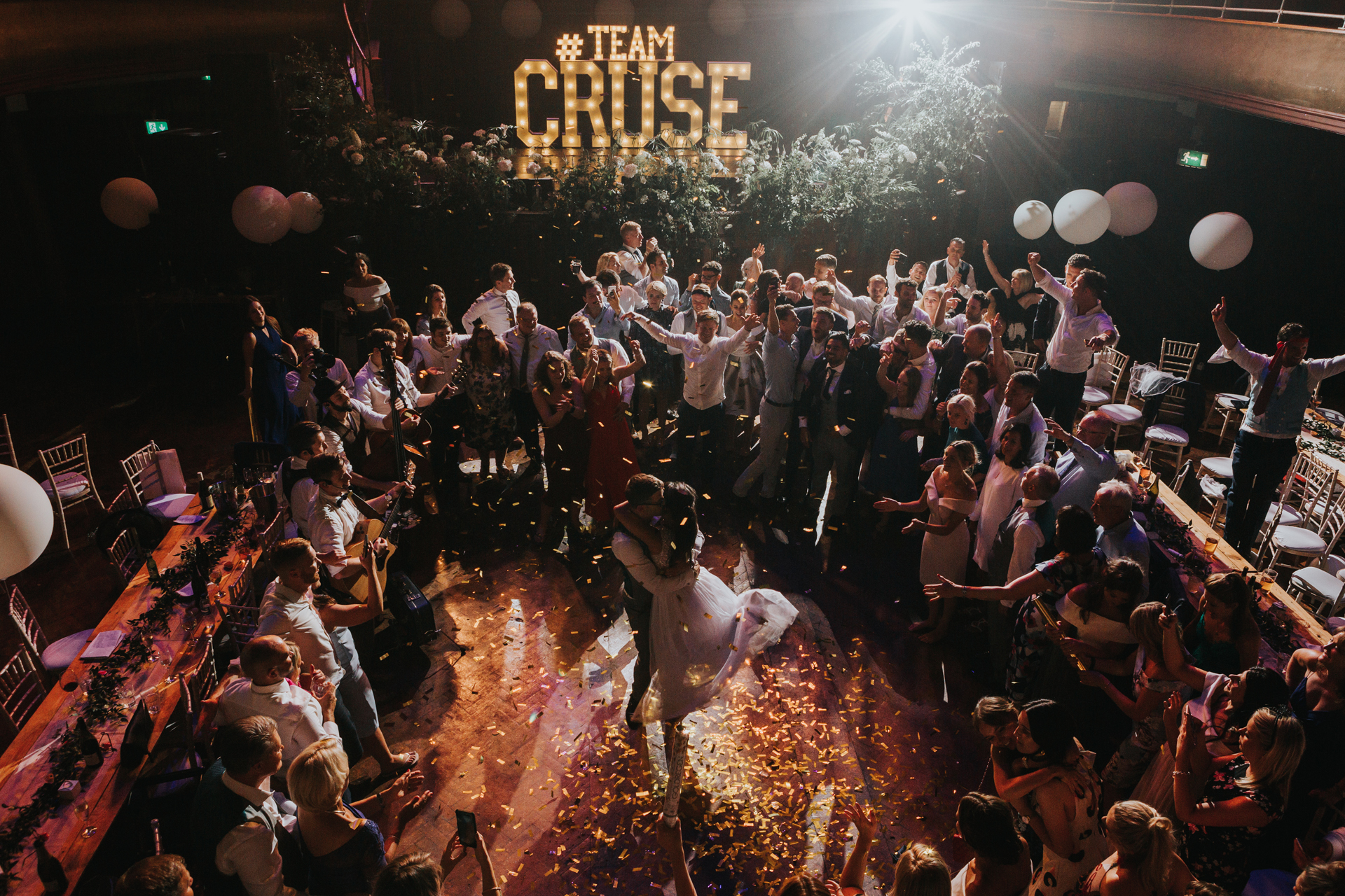 light up letters disco with bride & groom dancing in front